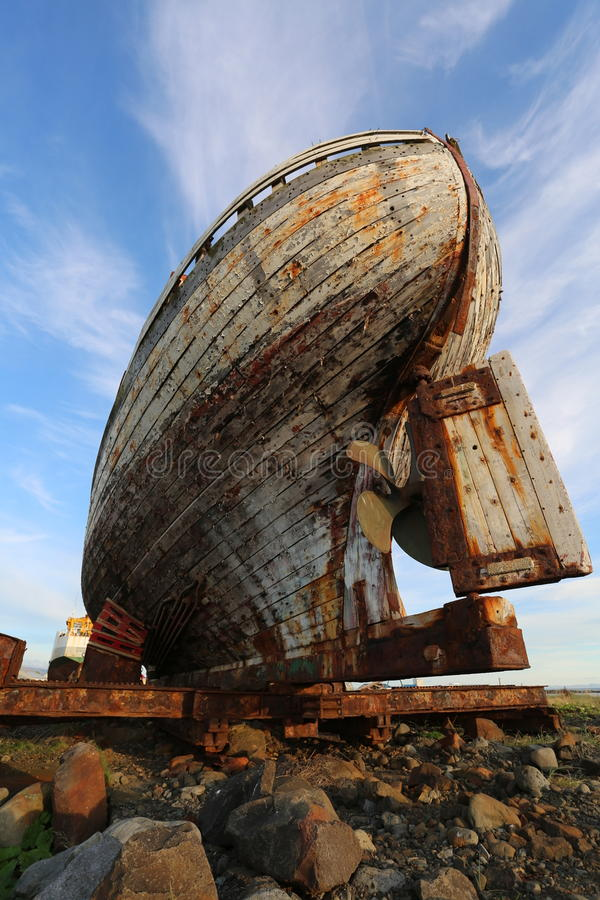 Old wooden fishing boat akranes iceland. Old wooden fishing boat in akranes iceland royalty free stock images