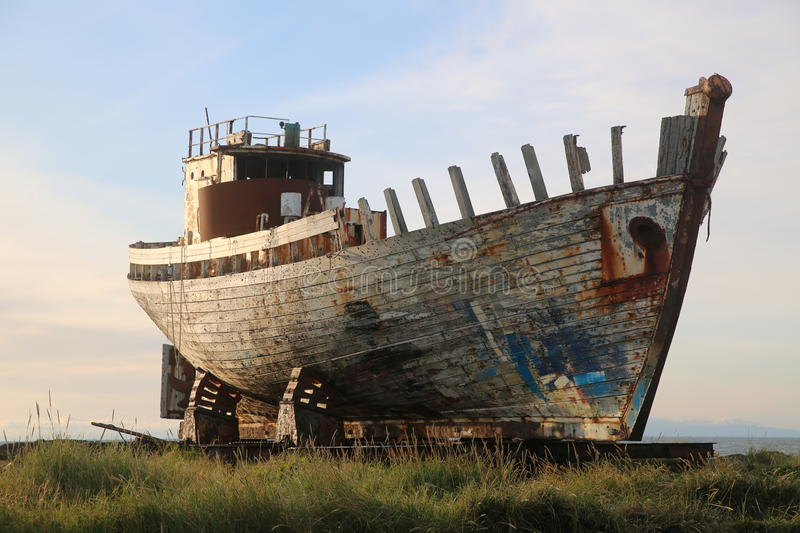 Old wooden fishing boat akranes iceland. Old wooden fishing boat in akranes iceland royalty free stock photography