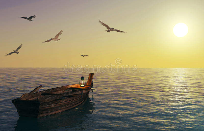 Old wooden fishing boat floating over calm sea and sunset sky. 3D rendering stock photography