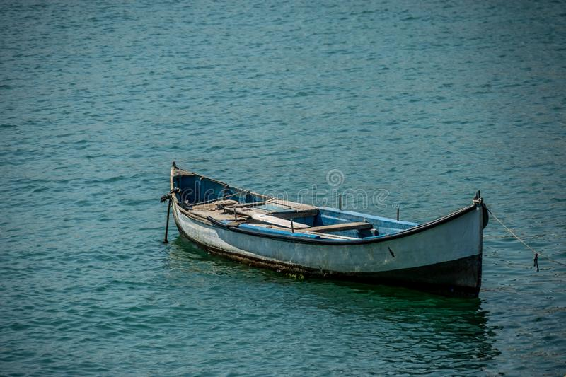 Old wooden fishing boat stock images