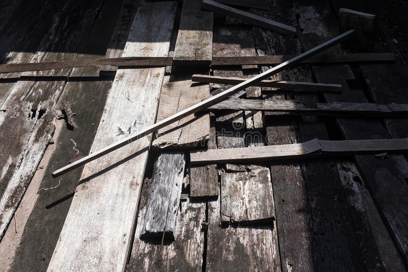 Old wooden floor at abandon house royalty free stock images