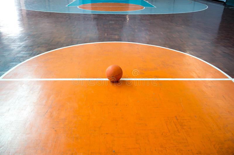 Old wooden floor , basketball court stock photo