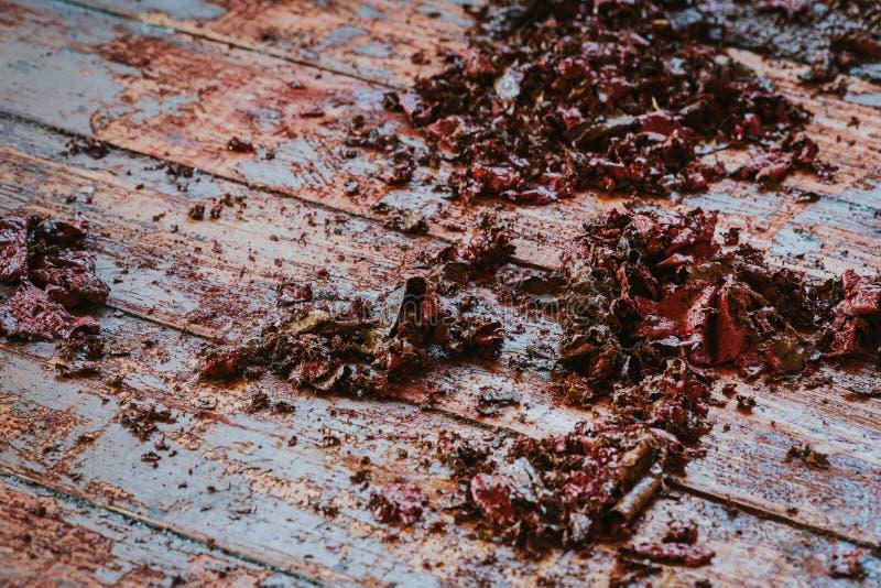 Old wooden floor with paint scraped. Wooden floor renovation stock images