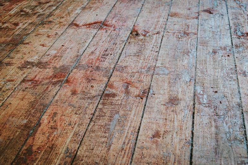 Old wooden floor with paint scraped texture. Background stock photography