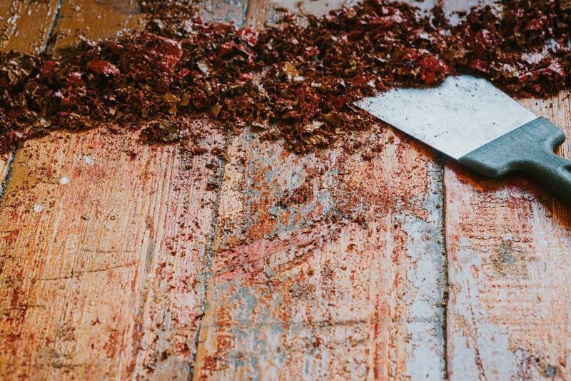 Old wooden floor and scraper tool with paint scraped - wooden floor renovation.  stock photos