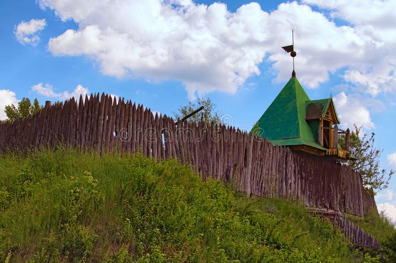 Old wooden fortress. Typical fortification of Zaporizhzhya Cossacks. Concept of historical buildings in ancient Ukrainian. royalty free stock images