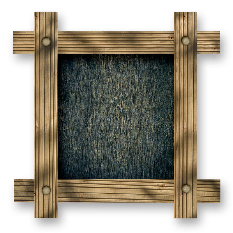 Old wooden frame against a white background with black wood copy space in the center.  stock photo
