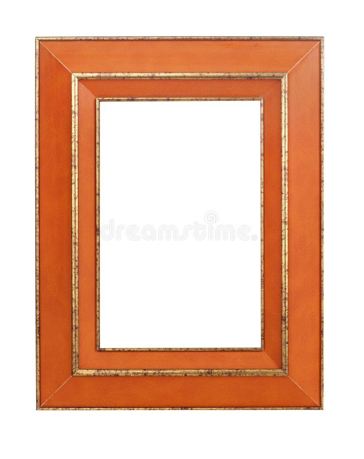 Wooden frame on white royalty free stock image
