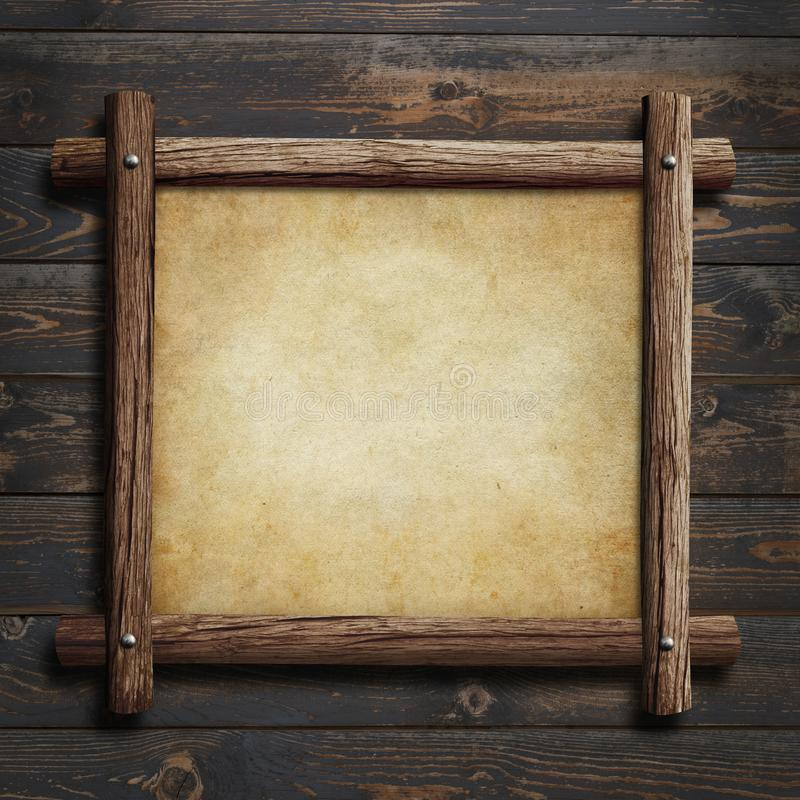 Old wooden frame with paper or parchment on wood background 3d illustration vector illustration