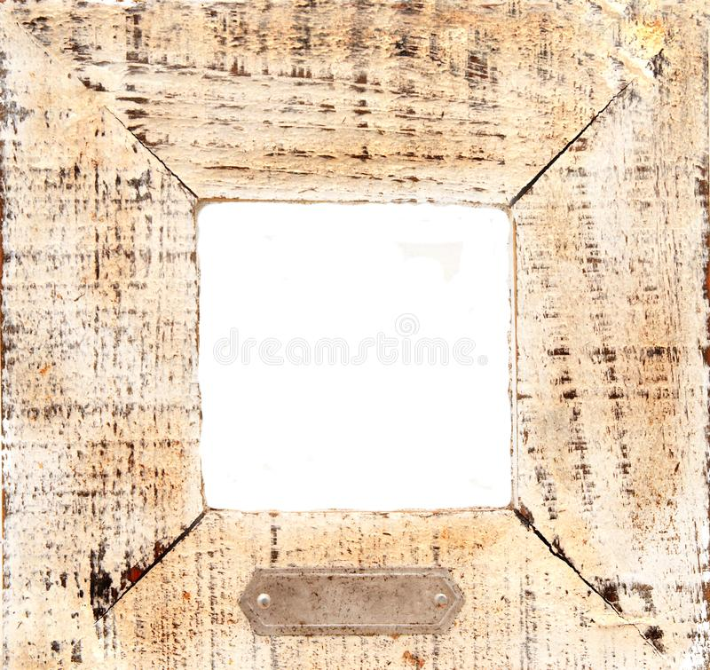 Old wooden frame with white ce royalty free stock photography