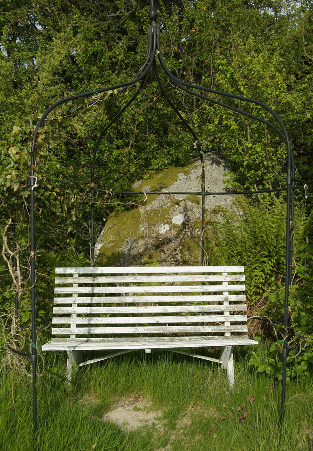 Download Old wooden garden bench stock image. Image of wooden, grass - 889539