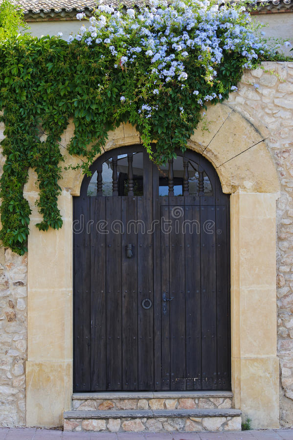 Old wooden gate with branches royalty free stock image
