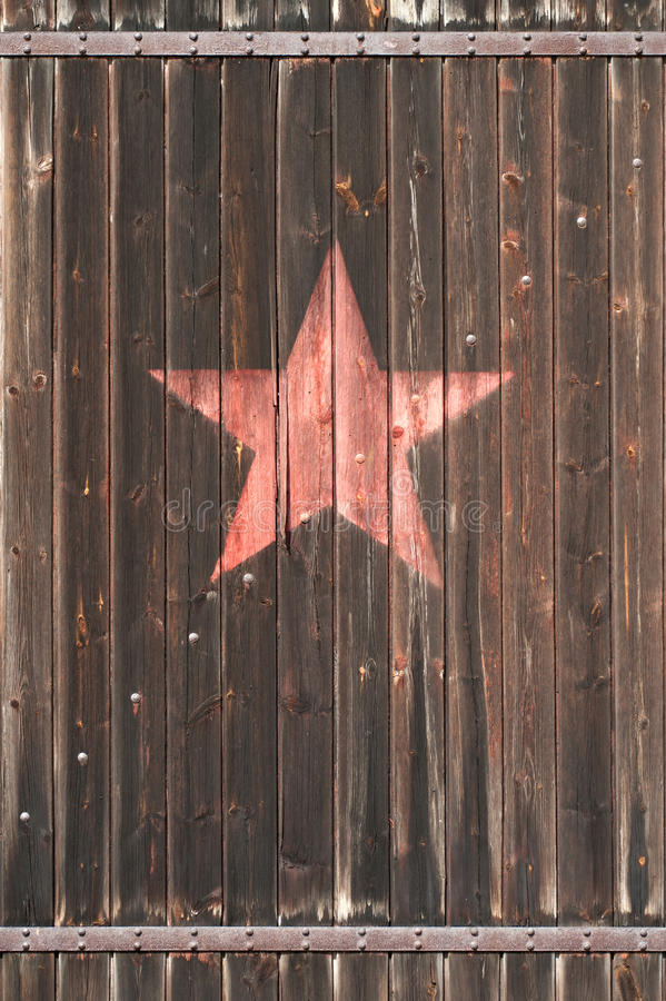 Free Old Wooden Gate With Soviet Star Royalty Free Stock Image - 19986166