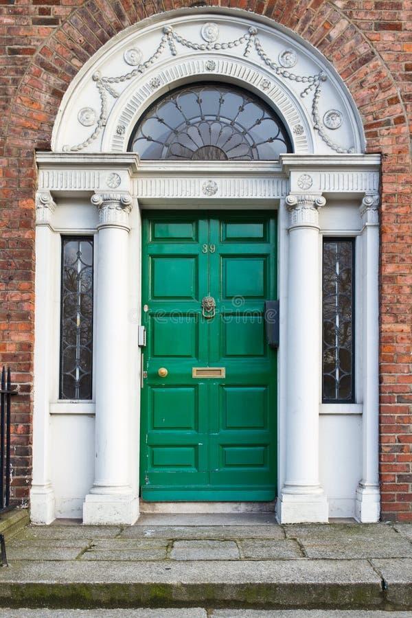 An Old Wooden Georgian Door of Dublin stock images