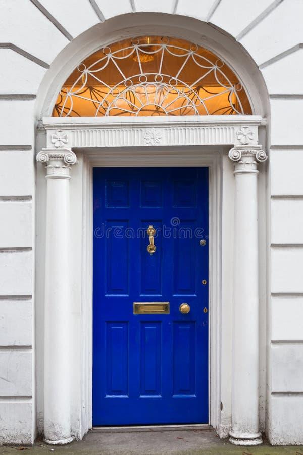 An Old Wooden Georgian Door of Dublin stock image