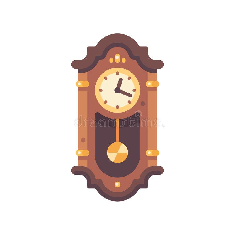 Free Old Wooden Grandfather Clock Flat Icon. Antique Furniture Icon Royalty Free Stock Photos - 122796398