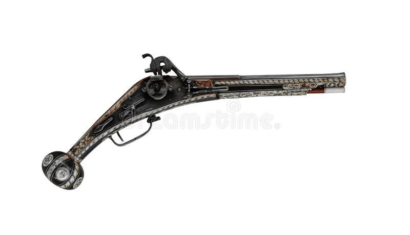 Old wooden gun isolated on white background. royalty free stock photography