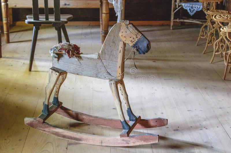Very old wooden horse stock photos