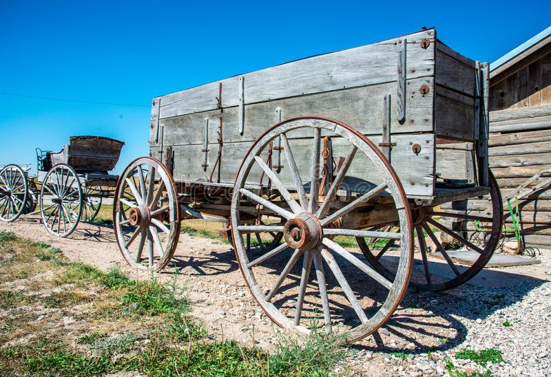 Old wooden horse drawn wagon stock photography
