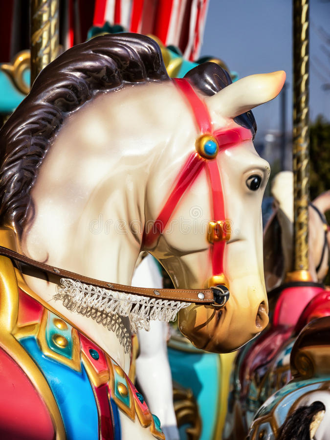 Old wooden horse. At a historic carousel stock photo