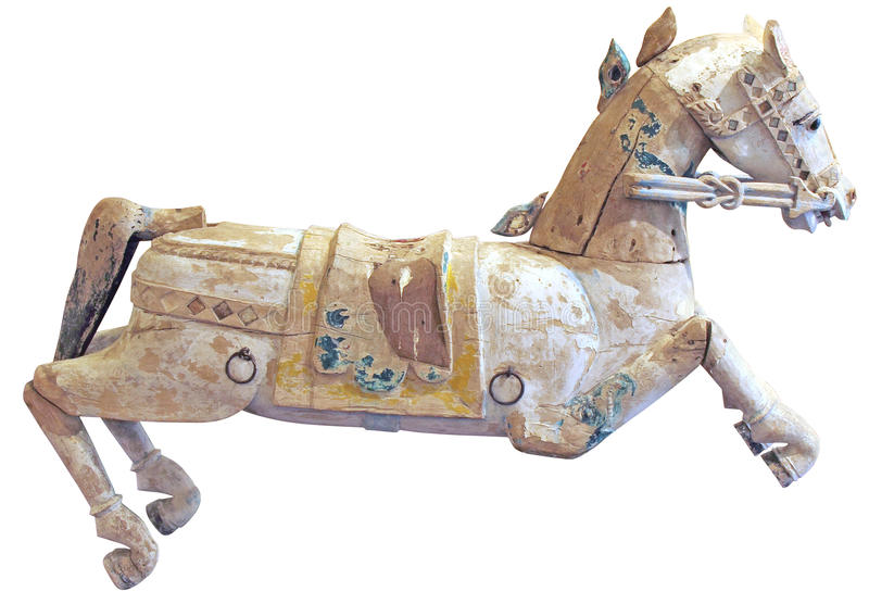Old wooden horse stock image