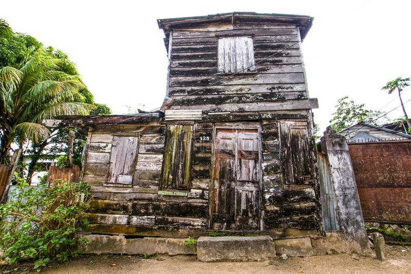 Old wooden house in the center of Paramaribo - Suriname. South America stock images