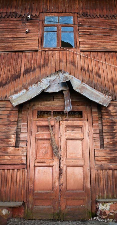 Old wooden house facade