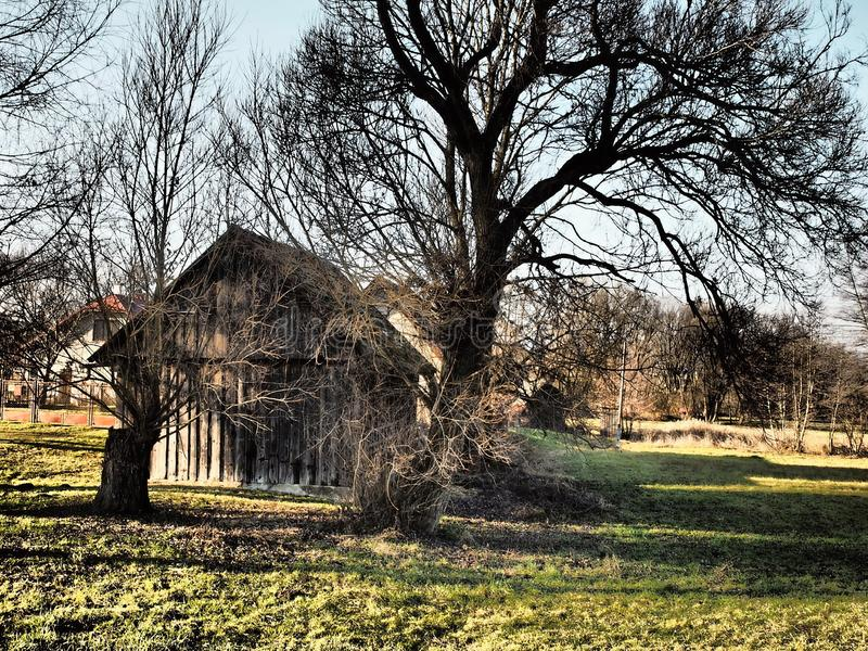 Old wooden house with an interesting background. Nice colored,landscapes,nature royalty free stock photography