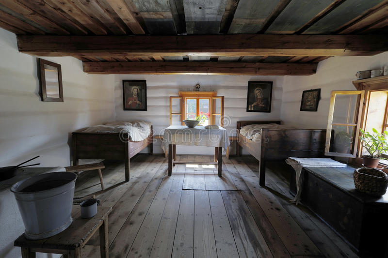 Old wooden house interior stock photo