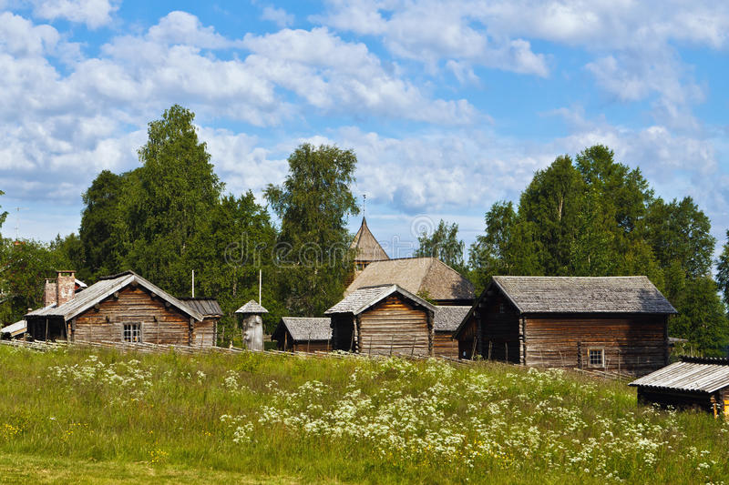 Old wooden houses stock images