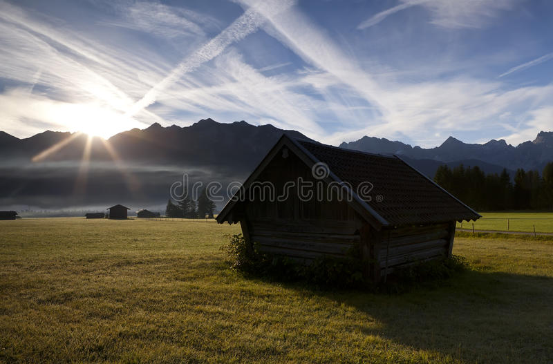 Download Old Wooden Hut At Sunrise Stock Images - Image: 27640594