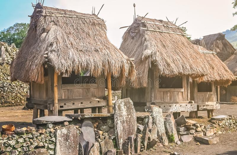 Old wooden huts in Bena Village stock photography