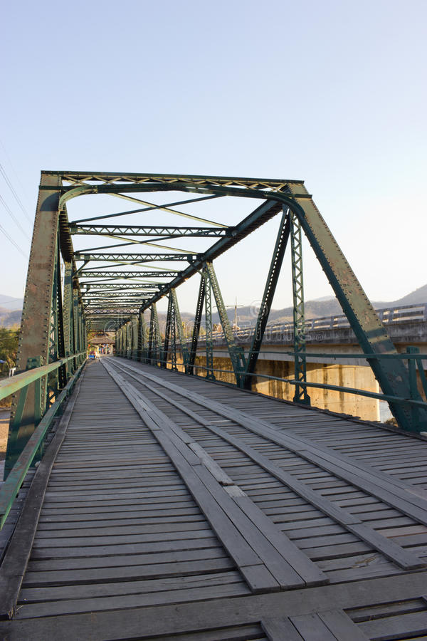 Old wooden and iron bridge. In Pai, Maehongsorn Thailand royalty free stock image