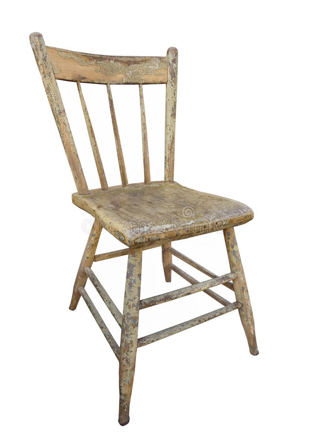 Old Wooden Kitchen Chair Isolated. Stock Image - Image of ...