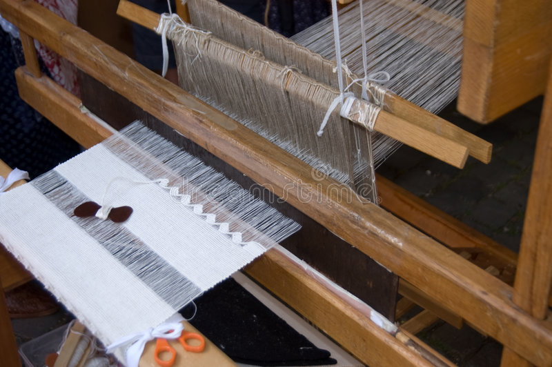 Old wooden loom. Native Slovak rustic wooden loom royalty free stock photo