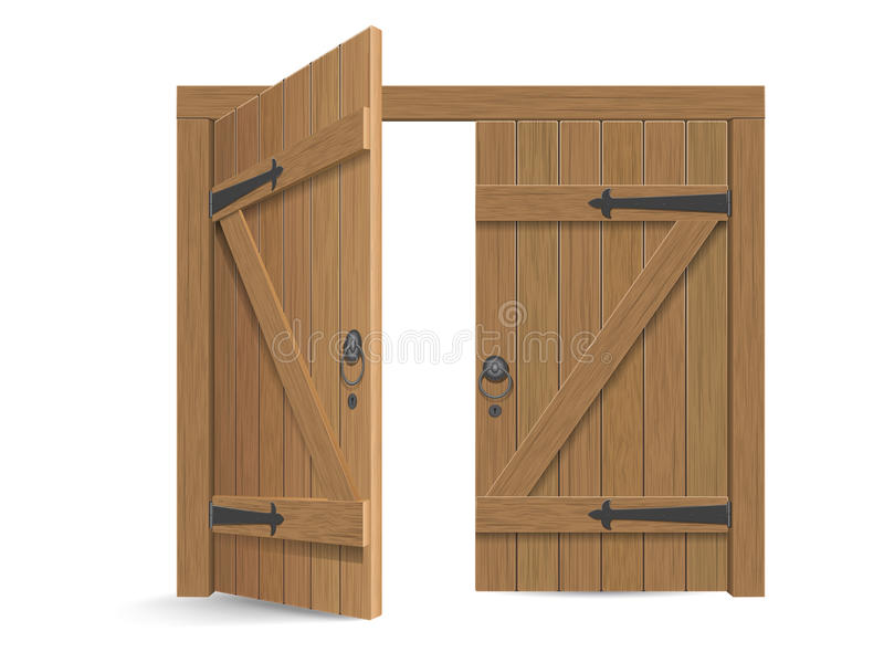 Old wooden massive opened gate. Double door with iron handles and hinges. Vector detailed illustration, isolated on white background stock illustration