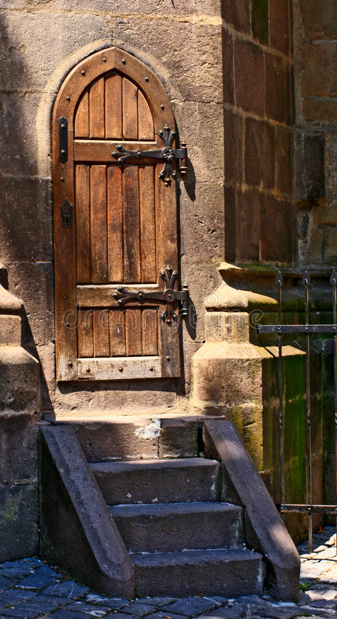 Old wooden medieval door. royalty free stock image