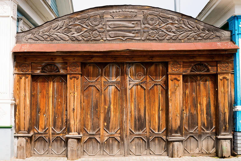 Old wooden ornate gate royalty free stock image