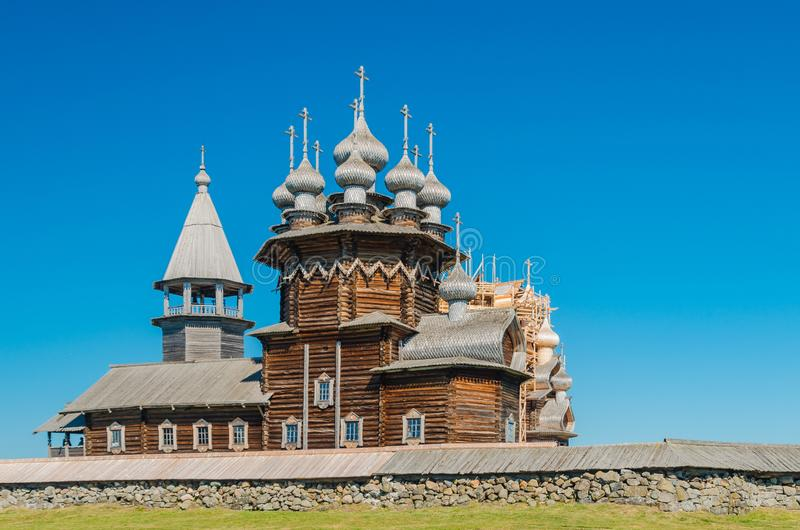 The old wooden Orthodox Church of the Intercession of the Holy Virgin on the island of Kizhi, Karelia, Russia. The church was stock photography