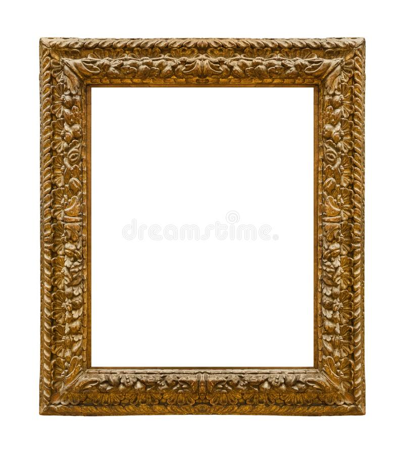 Old wooden picture frame. Isolated on white background stock image