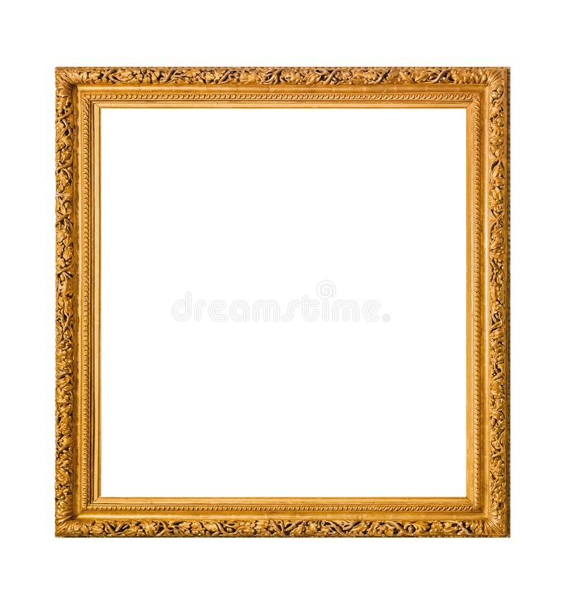 Old wooden picture frame. Isolated on white background royalty free stock photos
