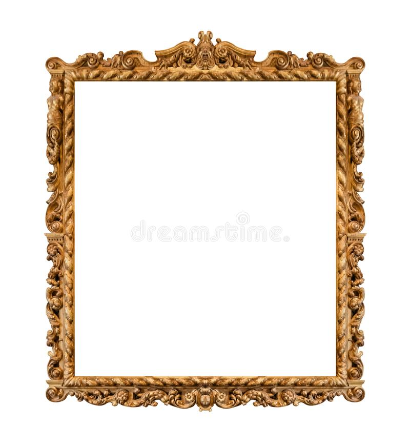 Old wooden picture frame. Isolated on white background royalty free stock photography