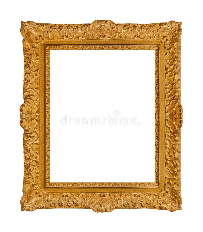 Old wooden picture frame. Isolated on white background stock photo