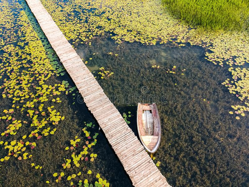 Old wooden pier with boat on Plavsko lake between water lilies, Montenegro, Europe.  stock image