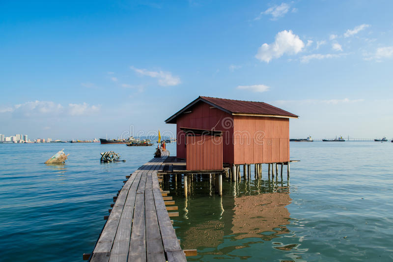 Old wooden pier in the city Georgetown stock photo