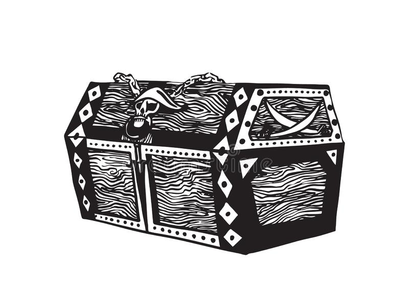 Old wooden pirate treasure chest. Hand drawn sketch illustration. Vector black ink drawing isolated on white background stock illustration