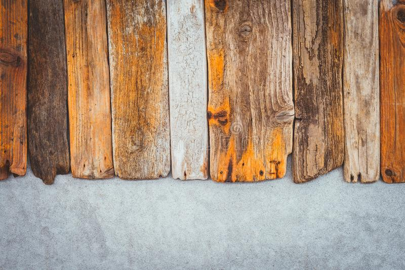 Old wooden planks on concrete background royalty free stock image