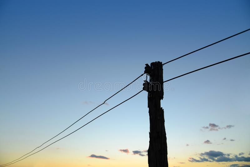 Old Wooden Pole With Electric Wire. Stock Photo - Image of supply ...