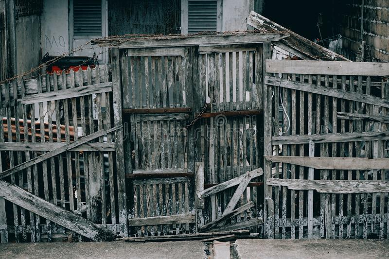 Old wooden, pontianak Indonesia, 30/10/2019, fence in the middle of the modern city. 30102019 stock photography