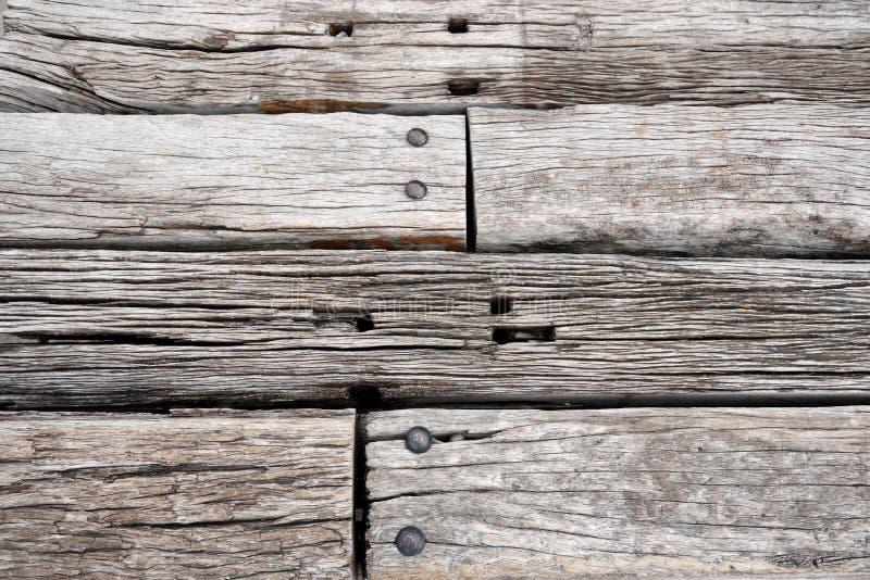 Old wooden railway sleepers background stock photography